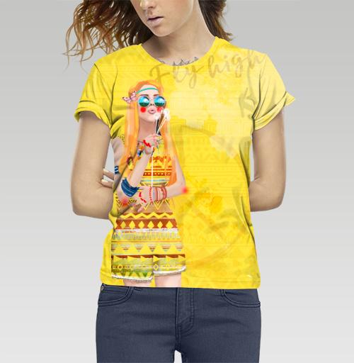 Девушка Хиппи, DariaDaTipina, Магазин футболок Daria DaTipina, Футболка женская c полной запечаткой