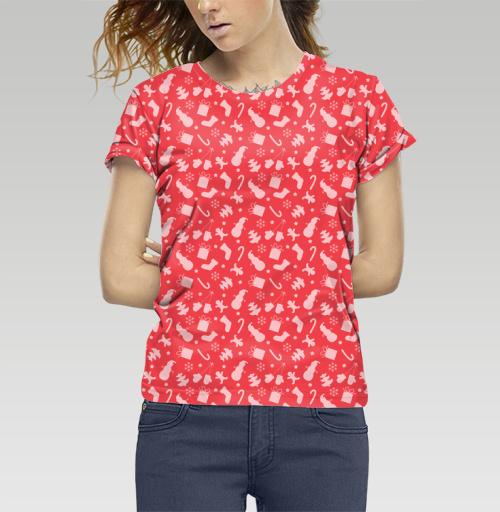 Футболка —  Красный новогодний паттерн от DogoD | maryjane.ru - дизайнерские футболки