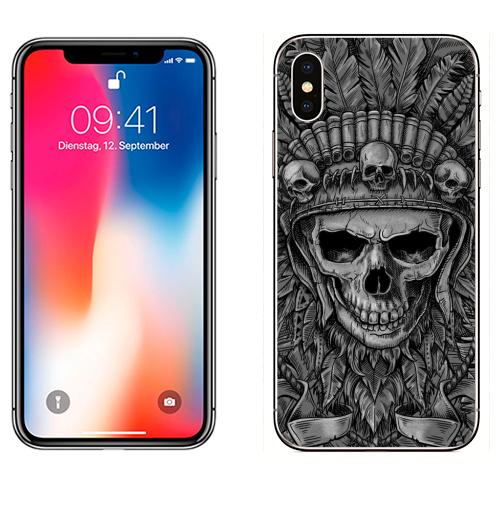 Наклейка на Телефон Apple iPhone X Вождь,  купить в Москве – интернет-магазин Allskins, черный, черно-белое, мужские, перья, индеец, череп, лицо, графика