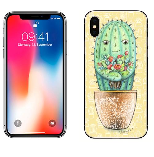 Наклейка на Телефон Apple iPhone X Кактус с цветами,  купить в Москве – интернет-магазин Allskins, цветы, колючий, растение, зеленый, веселый, персонажи, конверт, посткроссинг