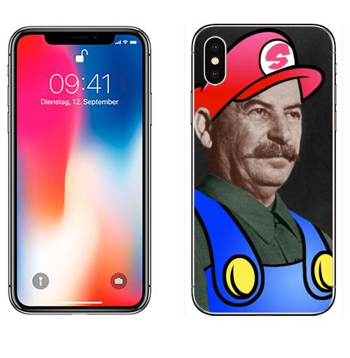 Наклейка на Телефон Apple iPhone X STALIO,  купить в Москве – интернет-магазин Allskins, Mario, COLABORATION, юмор