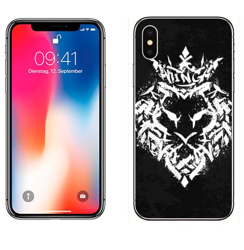 Наклейка на Телефон Apple iPhone X Граффити лев,  купить в Москве – интернет-магазин Allskins, типографика, король, лев, граффити, корона, черно-белое