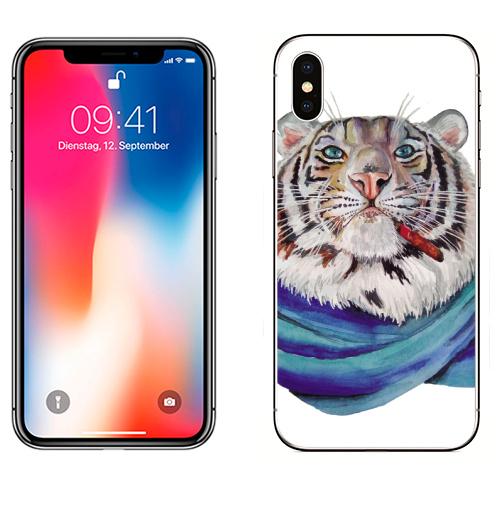 Наклейка на Телефон Apple iPhone X Харизма,  купить в Москве – интернет-магазин Allskins, белый, тигры, акварель, хардкор, характер