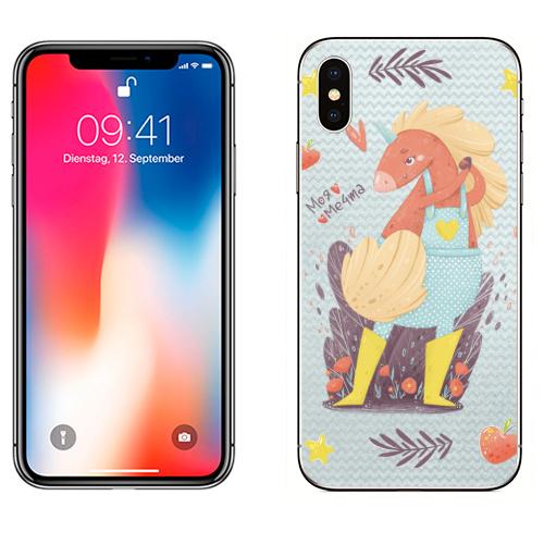 Наклейка на Телефон Apple iPhone X Единорог в желтых сапожках,  купить в Москве – интернет-магазин Allskins, единорог, мечта, мило, лето, весна, детские, сердечки, девушка, девочке, розовый