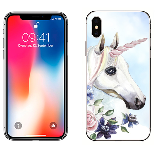 Наклейка на Телефон Apple iPhone X Единорог в цветах,  купить в Москве – интернет-магазин Allskins, единорог, цветы, акварель, васильки, василек, розовый, голубой, пастельный, лошадь