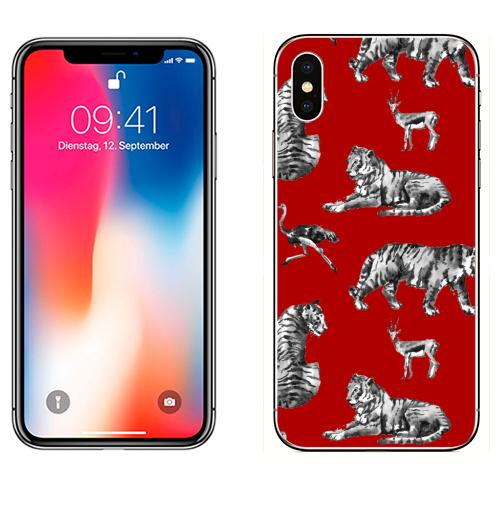 Наклейка на Телефон Apple iPhone X Тигры на красном,  купить в Москве – интернет-магазин Allskins, зверушки, африка, Саванна, антилопа, дикая, природа, фауна, хищник, добыча