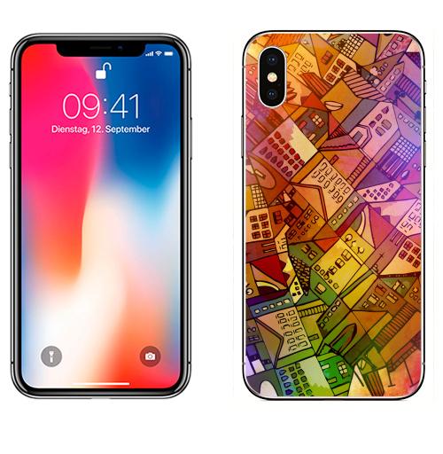Наклейка на Телефон Apple iPhone X Город,  купить в Москве – интернет-магазин Allskins, цвет, фантазия, позитив, графика, город, яркий, психоделика