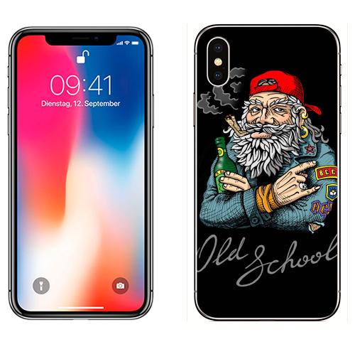 Наклейка на Телефон Apple iPhone X Old School,  купить в Москве – интернет-магазин Allskins, english, надписи, волосы, косяк, школа, 80-е, металл, старая, олдскулл