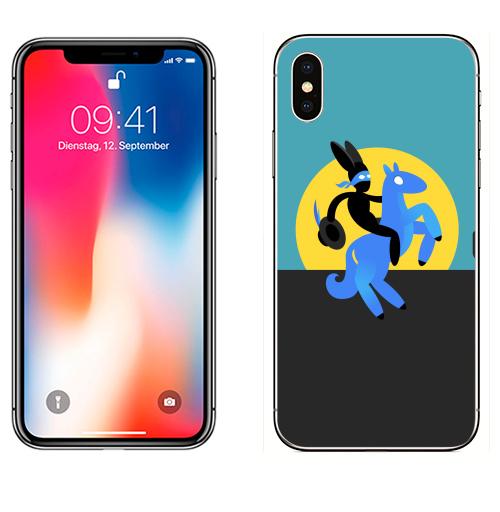 Наклейка на Телефон Apple iPhone X Синийконь,  купить в Москве – интернет-магазин Allskins, черный, зорро, синий, лошадь, заяц