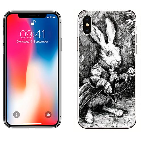 Наклейка на Телефон Apple iPhone X Заяц из алисы в стране чудес,  купить в Москве – интернет-магазин Allskins, иллюстация, заяц, животные, Подарок, графика