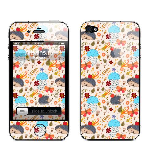 Наклейка на Телефон Apple iPhone 4S, 4 Ежики,  купить в Москве – интернет-магазин Allskins, ежик, ежи, животные, осень, яблоко, фрукты, облако, природа, цветы