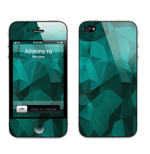Наклейка на Телефон Apple iPhone 4S, 4 Изумруд ,  купить в Москве – интернет-магазин Allskins, геометрия, полигон, изумруд