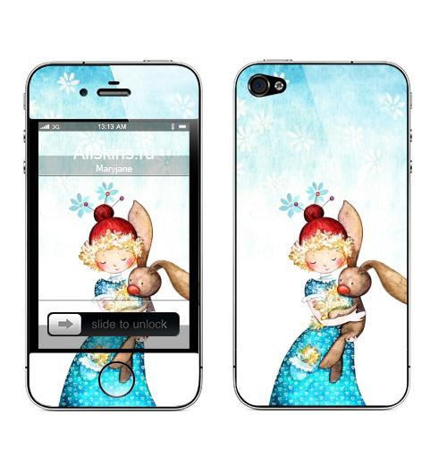 Наклейка на Телефон Apple iPhone 4S, 4 Заинька,  купить в Москве – интернет-магазин Allskins, 8 марта, игры, заяц, милые, детские, акварель, цветы