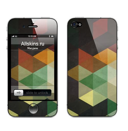 Наклейка на Телефон Apple iPhone 4S, 4 Геометрический узор,  купить в Москве – интернет-магазин Allskins, абстракция, геометрия, яркий, красный