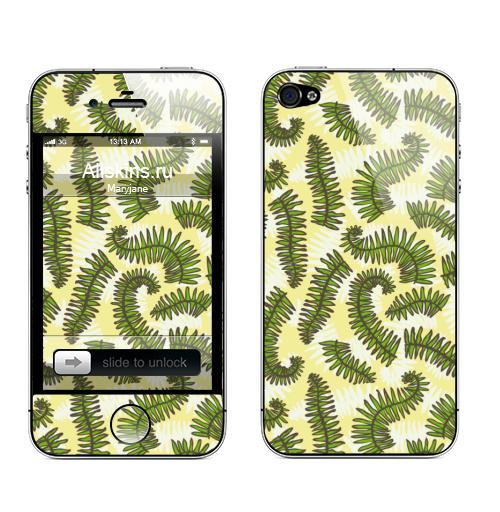 Наклейка на Телефон Apple iPhone 4S, 4 Листья папоротника,  купить в Москве – интернет-магазин Allskins, листья, папоротник, природа, зеленые, зеленый, абстрактные, эко