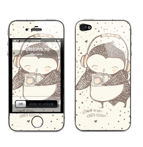 Наклейка на Телефон Apple iPhone 4S, 4 Слушай музыку....,  купить в Москве – интернет-магазин Allskins, слушай, настроение, музыка, совеныш, птицы, животные, сова