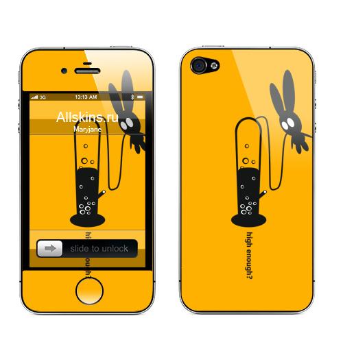 Наклейка на Телефон Apple iPhone 4S, 4 High Enough?,  купить в Москве – интернет-магазин Allskins, english, дым, надписи, заяц