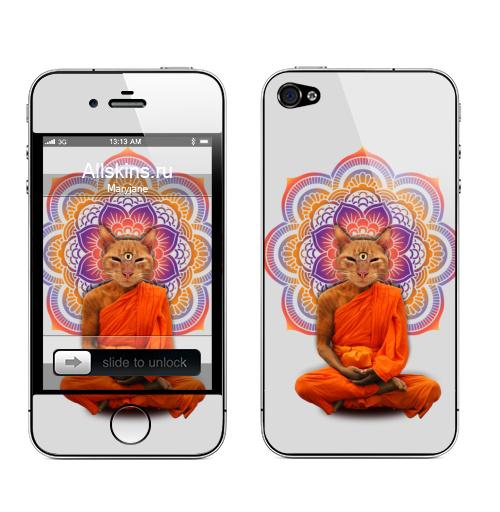 Наклейка на Телефон Apple iPhone 4S, 4 Оммм...,  купить в Москве – интернет-магазин Allskins, кошка, йога, мантра, мандала
