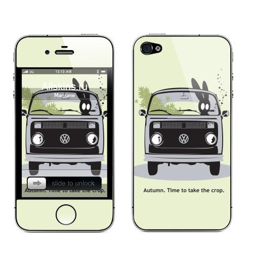 Наклейка на Телефон Apple iPhone 4S, 4 Осень. Время собирать урожай.,  купить в Москве – интернет-магазин Allskins, серый, заяц, осень, урожай, Фольксваген, зеленый, черный