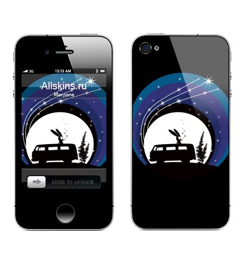 Наклейка на Телефон Apple iPhone 4S, 4 Night Scene,  купить в Москве – интернет-магазин Allskins, заяц, дым, звезда, луна, ночь, Фольксваген