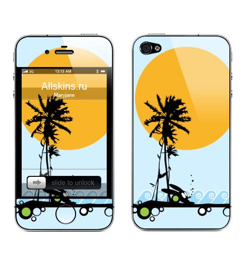 Наклейка на Телефон Apple iPhone 4S, 4 Summertime,  купить в Москве – интернет-магазин Allskins, солнце, заяц, maryjane, лето, морская