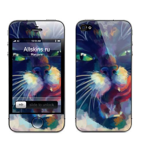 Наклейка на Телефон Apple iPhone 4S, 4 Мяяяу,  купить в Москве – интернет-магазин Allskins, яркий, живопись, кошка