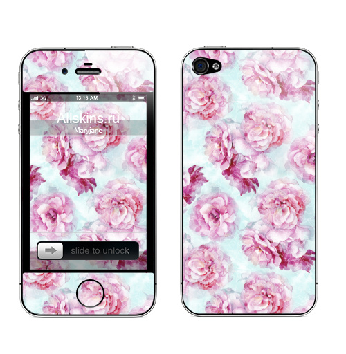 Наклейка на Телефон Apple iPhone 4S, 4 Летние розы,  купить в Москве – интернет-магазин Allskins, цветы, цвет, узор, настроение, нежно, графика, художник, флора, весна