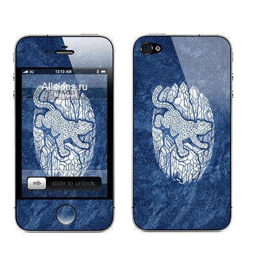 Наклейка на Телефон Apple iPhone 4S, 4 Снежный барс,  купить в Москве – интернет-магазин Allskins, животные, белый, кошка, снег, горы, черно-белое