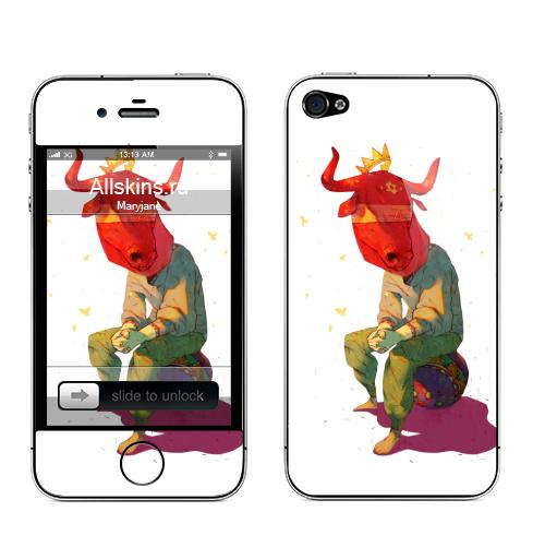 Наклейка на Телефон Apple iPhone 4S, 4 Минотавр,  купить в Москве – интернет-магазин Allskins, цирк, легенда, миф, маска, бык, минотавр