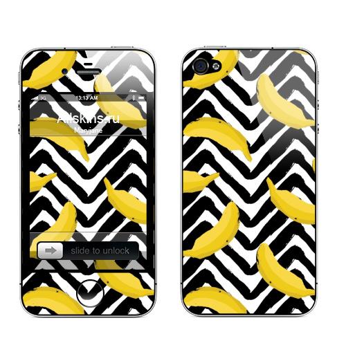 Наклейка на Телефон Apple iPhone 4S, 4 Желтые бананы,  купить в Москве – интернет-магазин Allskins, мода, лето, зебре, желтые, банан, паттерн, полнаязапечатка, тропики