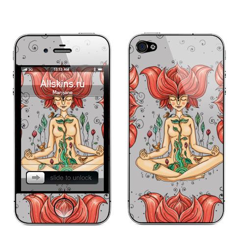Наклейка на Телефон Apple iPhone 4S, 4 Пора цветения,  купить в Москве – интернет-магазин Allskins, девушка, цветы, весна, настроение, птицы