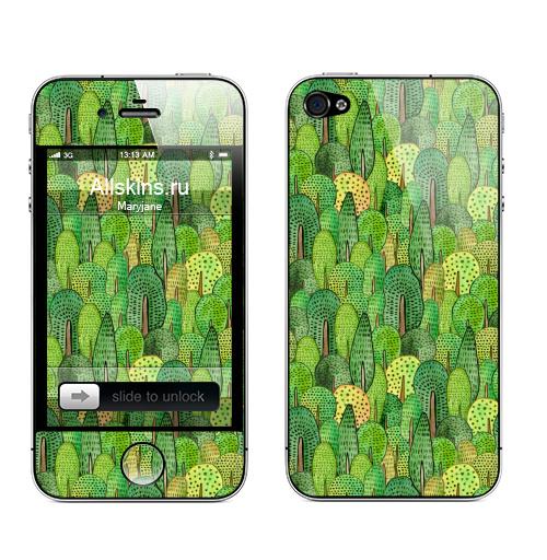 Наклейка на Телефон Apple iPhone 4S, 4 Акварельный лес,  купить в Москве – интернет-магазин Allskins, акварель, лес, деревья, природа, зеленый, паттерн