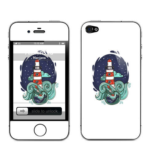 Наклейка на Телефон Apple iPhone 4S, 4 Маяк и большая медведица,  купить в Москве – интернет-магазин Allskins, морская, маяк, космос, звезда, облако, небо, волны, рыба