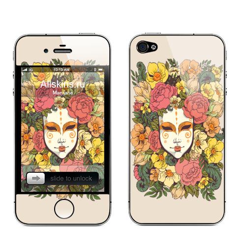 Наклейка на Телефон Apple iPhone 4S, 4 Цветочная маска,  купить в Москве – интернет-магазин Allskins, весна, лицо, цветы, маска, узор, декоративный, растение, букет, желтый