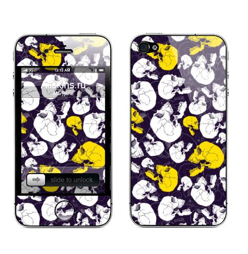 Наклейка на Телефон Apple iPhone 4S, 4 Голодные головы. Очередь,  купить в Москве – интернет-магазин Allskins, хоррор, rock, хэллоуин, челюсть, скелет, анатомия, череп, монстры