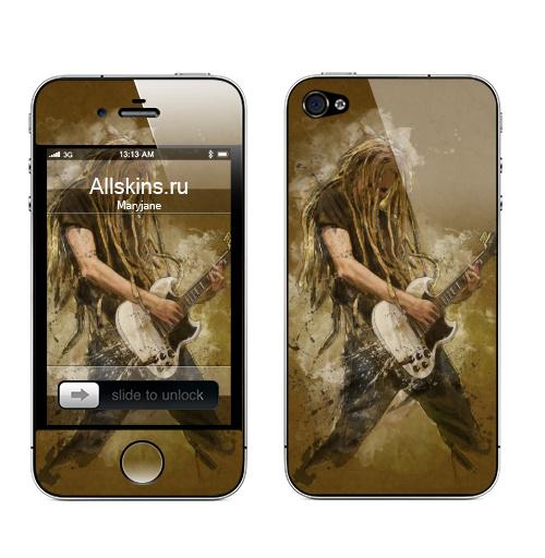 Наклейка на Телефон Apple iPhone 4S, 4 Да будет РОК,  купить в Москве – интернет-магазин Allskins, rock, музыка, гитара, гитарист, музыкант, брызги, акварель, дреды, рифф
