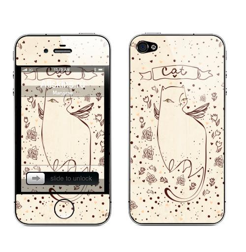 Наклейка на Телефон Apple iPhone 4S, 4 Зеленоглазая ...,  купить в Москве – интернет-магазин Allskins, кошка, животные, любовь, цветы, розы, сердечки, прикол, иллюстрации