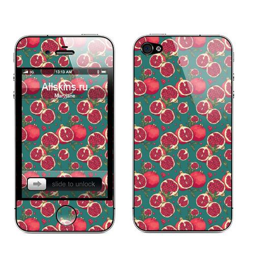 Наклейка на Телефон Apple iPhone 4S, 4 Гранатовый сок,  купить в Москве – интернет-магазин Allskins, гранат, фрукты, экзотика, лето, свежесть, природа, растение, плод, яркий
