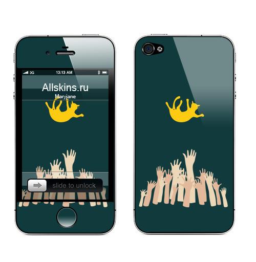 Наклейка на Телефон Apple iPhone 4S, 4 Kisymissy,  купить в Москве – интернет-магазин Allskins, руки, кошка