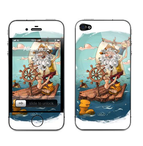 Наклейка на Телефон Apple iPhone 4S, 4 Главное - плыть вперед!,  купить в Москве – интернет-магазин Allskins, пират, морская, плот, оптимизм, персонажи, борода