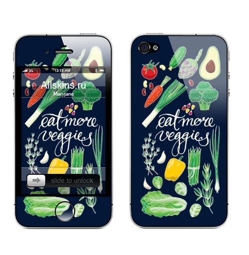 Наклейка на Телефон Apple iPhone 4S, 4 Больше овощей,  купить в Москве – интернет-магазин Allskins, овощи, еда, помидор, морковка, авокадо, лук, зеленые, зеленый