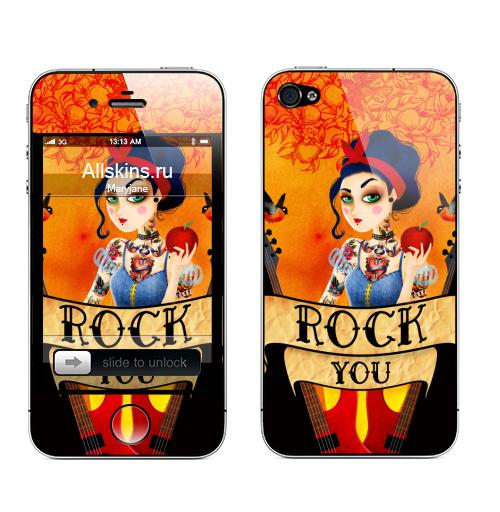 Наклейка на Телефон Apple iPhone 4S, 4 Рок принцесса,  купить в Москве – интернет-магазин Allskins, белоснежка, олдсул, татуировки, rock, гитары, принцесса