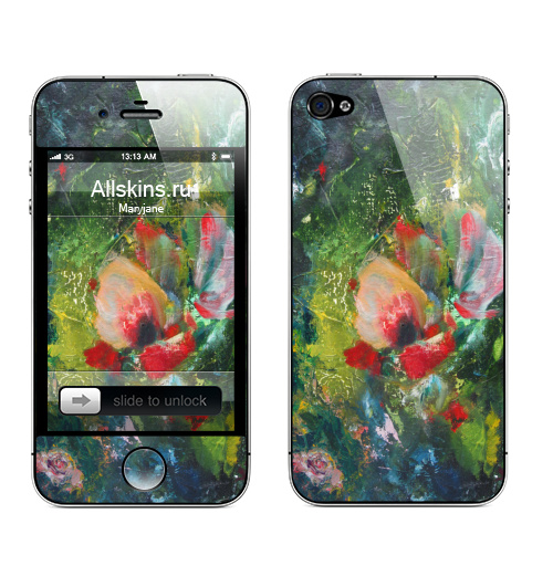 Наклейка на Телефон Apple iPhone 4S, 4 Южный ветер,  купить в Москве – интернет-магазин Allskins, йветы, цветы, тюльпан, нежно, акварель, живопись, рисунки, плакат