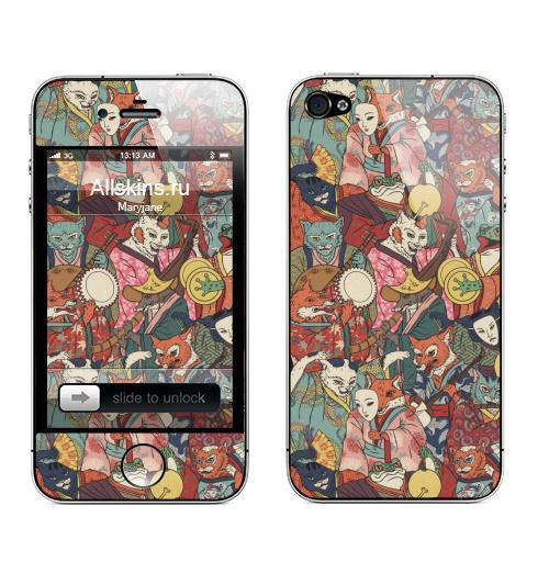 Наклейка на Телефон Apple iPhone 4S, 4 Ночной парад,  купить в Москве – интернет-магазин Allskins, музыка, кошка, лиса, кицунэ, оборотни, духи, демоны, Япония, миф