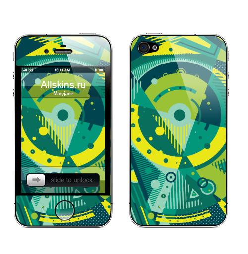 Наклейка на Телефон Apple iPhone 4S, 4 Механика,  купить в Москве – интернет-магазин Allskins, кубизм, геометрия, яркий, зеленый, цвет, механика