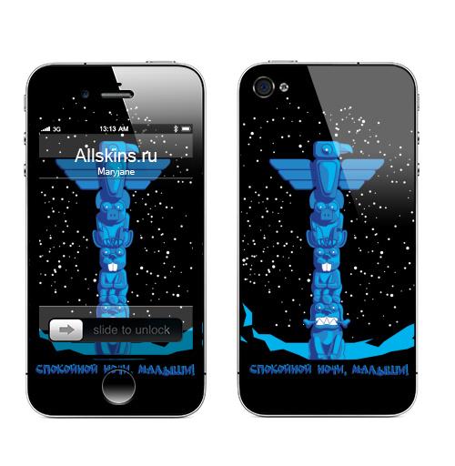 Наклейка на Телефон Apple iPhone 4S, 4 TOTEM,  купить в Москве – интернет-магазин Allskins, индеец, надписи, птицы, этно, детские