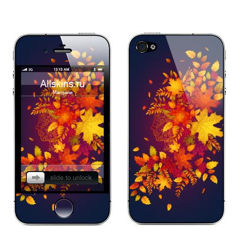 Наклейка на Телефон Apple iPhone 4S, 4 Дух осени,  купить в Москве – интернет-магазин Allskins, осень, листья, рыжий, девушка, рябина, деревья, природа, винтаж, лес