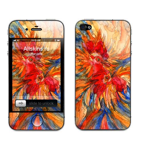 Наклейка на Телефон Apple iPhone 4S, 4 Боевые петухи,  купить в Москве – интернет-магазин Allskins, акварель, узор, паттерн, птицы, зима, петух, новый год