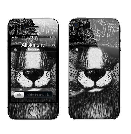 Наклейка на Телефон Apple iPhone 4S, 4 Лис бандит. это пахнет ёлкой,  купить в Москве – интернет-магазин Allskins, крутые животные, животные, зима, любовь, кровь, хитрый, bandit, лиса, милые животные