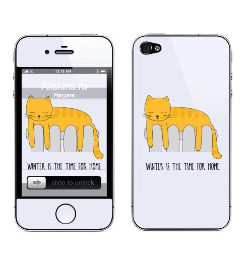Наклейка на Телефон Apple iPhone 4S, 4 Зима - это время для дома,  купить в Москве – интернет-магазин Allskins, надписи, english, тепло, уют, батарея, зима, кошка